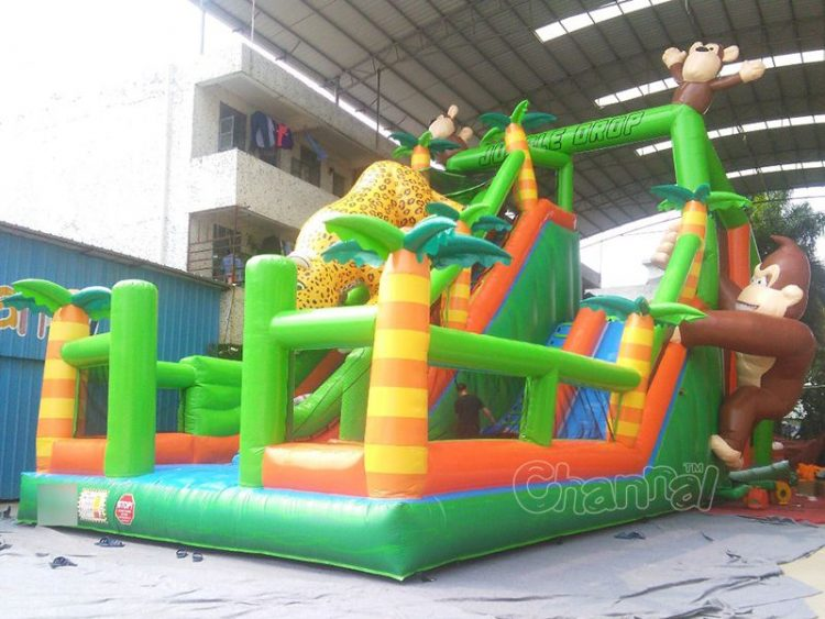 jungle drop inflatable free jump for kids