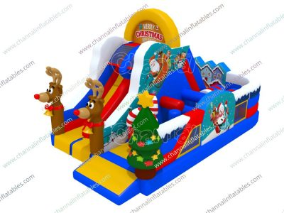 Christmas themed inflatable playground