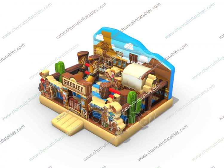 sheriff theme inflatable playground for kids