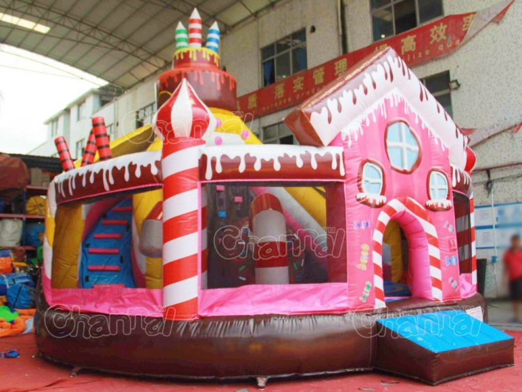 Candy House Inflatable Playground Slide Channal Inflatables