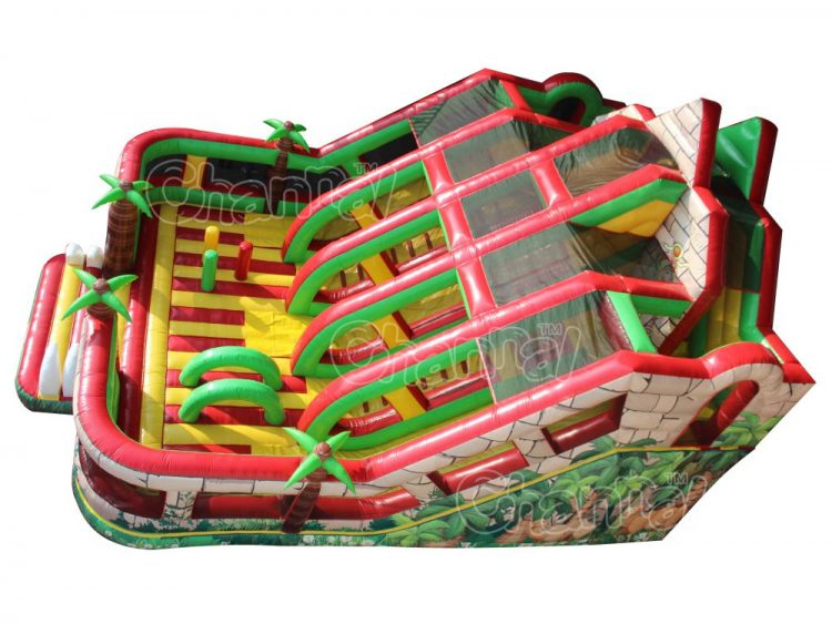 jungle inflatable obstacle course with slide