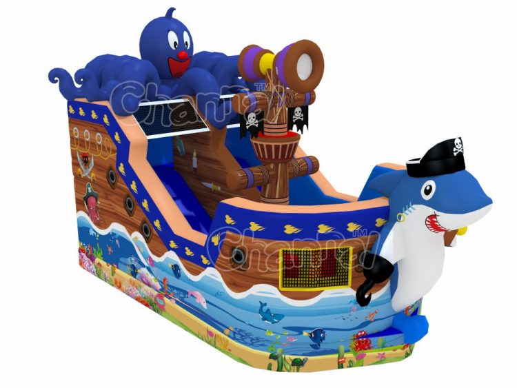 pirate shark inflatable slide