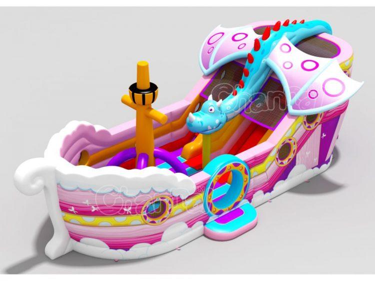 pink dragon ship inflatable slide