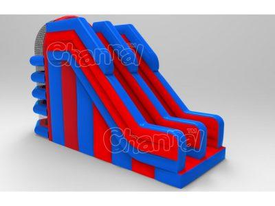 blue red inflatable slide