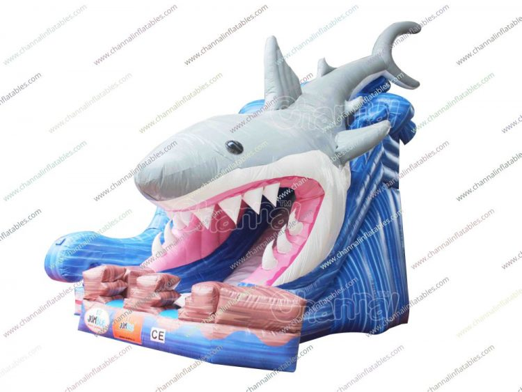giant shark inflatable slide