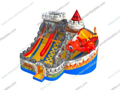 dragon attack inflatable slide