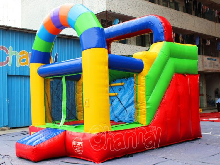 colorful arch inflatable slide