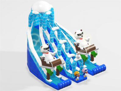 polar bear and penguin ice castle inflatable slide