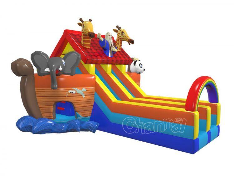 dual lane Noah's ark blow up slide