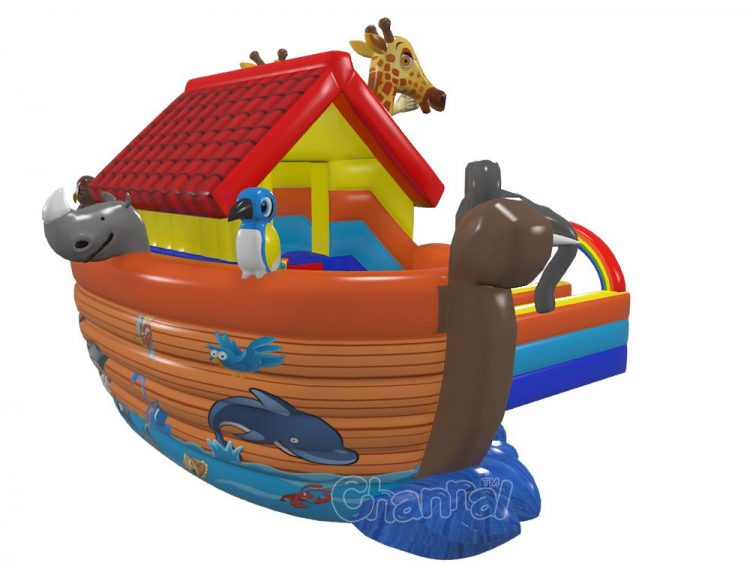 inflatable Noah's ark with animals