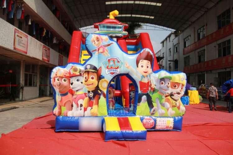 paw patrol blow up slide for kids(Ryder and six dogs)