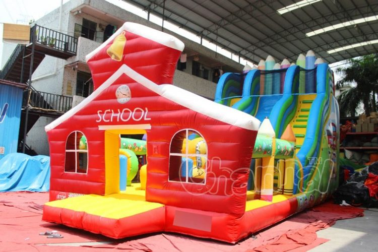 red school house inflatable slide