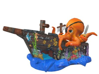 captain octopus inflatable slide for kids