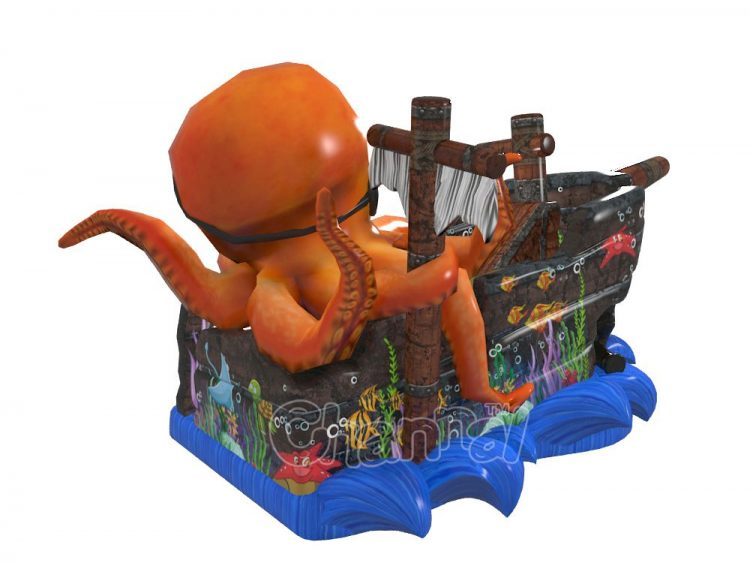 captain pirate octopus themed inflatable slide