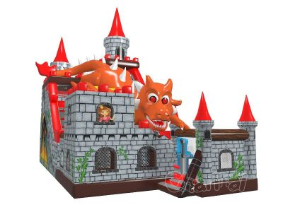dragon attacks castle inflatable slide