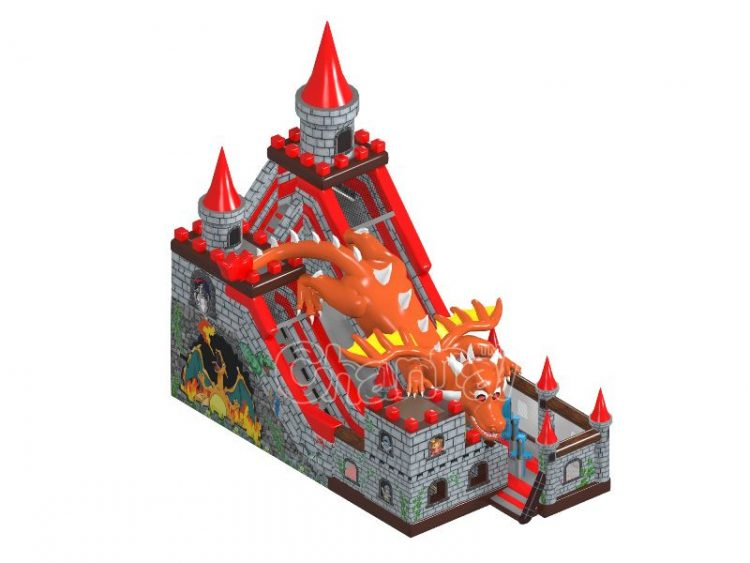 dragon attacks king's castle themed inflatable slide