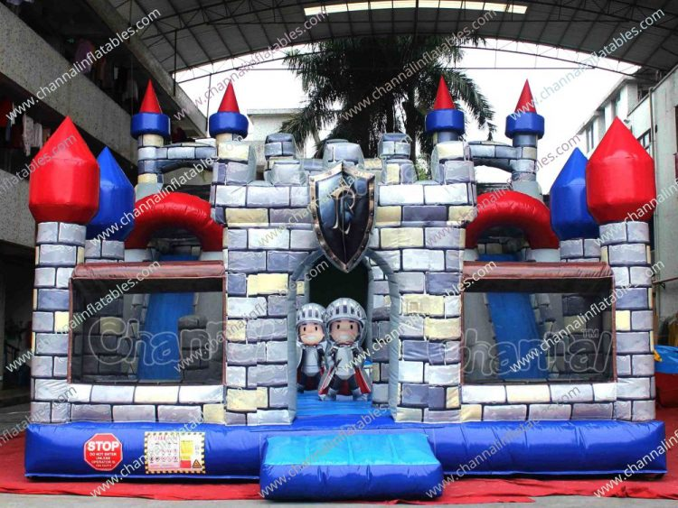 guard the princess castle themed inflatable slide
