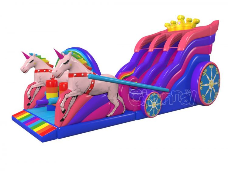 2 lane inflatable unicorn carriage slide for girls