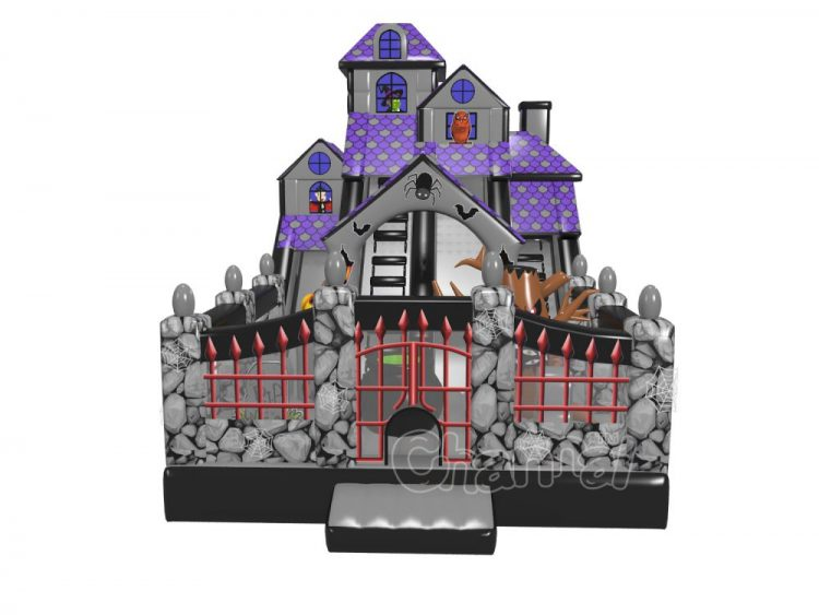 haunted house blow up slide for Halloween (include witch, pumpkin and vampire)