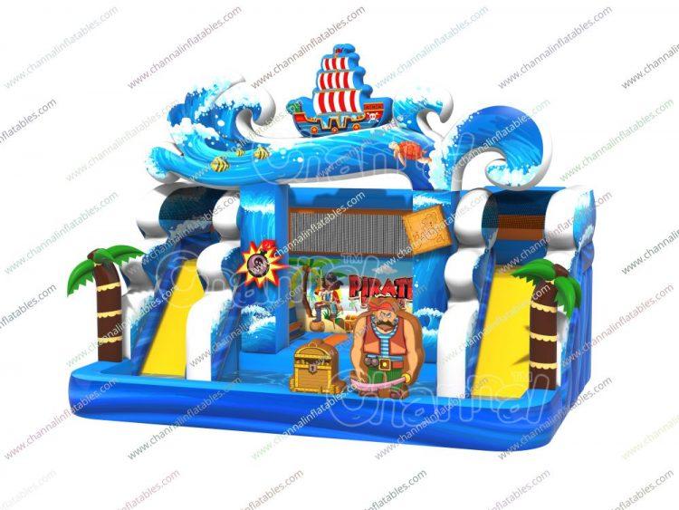 pirate backyard water slide and pool