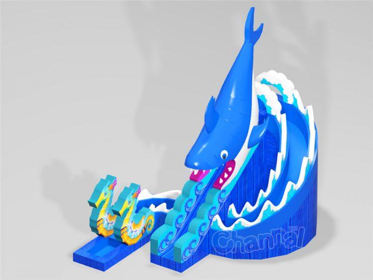 shark inflatable spiral water slide