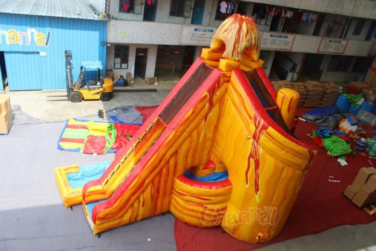 giant volcano inflatable water slide