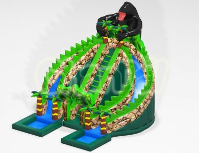 jungle and gorilla inflatable water slide
