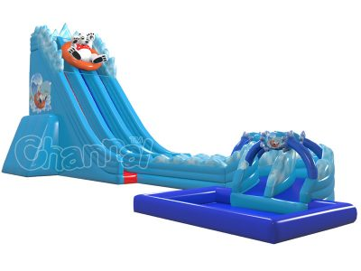 north pole bear inflatable water slide