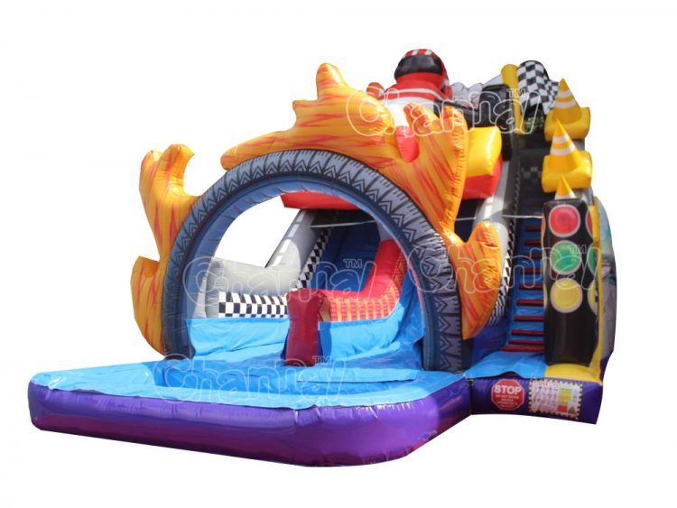 open wheel racing inflatable water slide