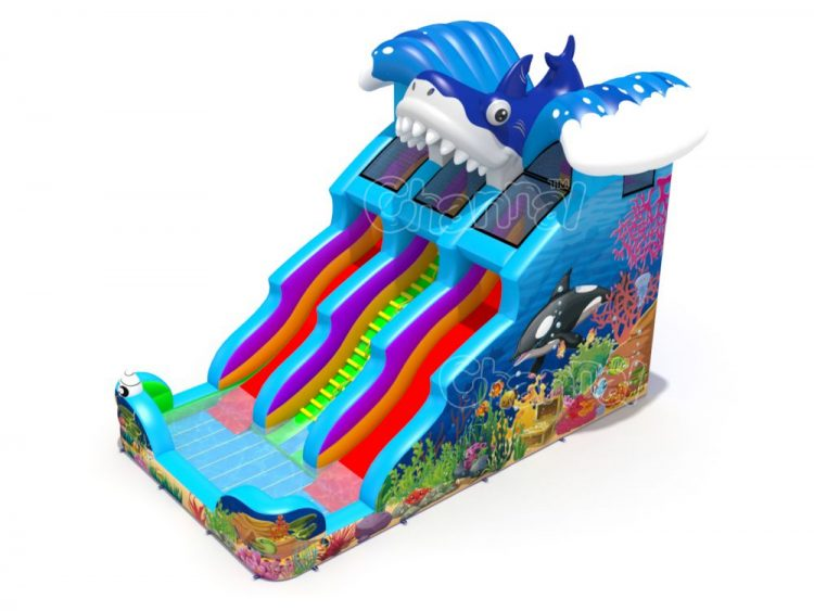 ocean shark inflatable water slide