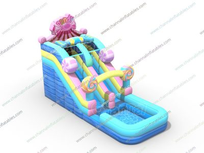 candy themed inflatable water slide
