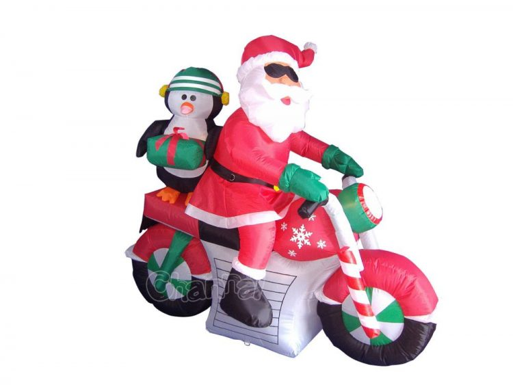 christmas blow up santa on a harley motorcycle