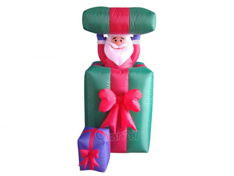 Santa hiding in gift box inflatable decoration with lights