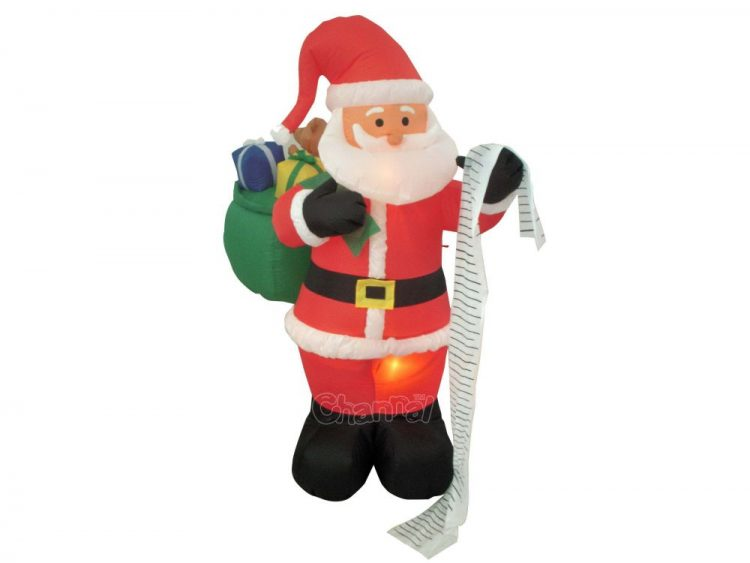 Santa checking naughty or nice list inflatable decoration