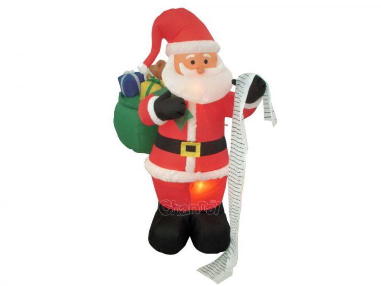 Santa checking naughty or nice list inflatable decoration