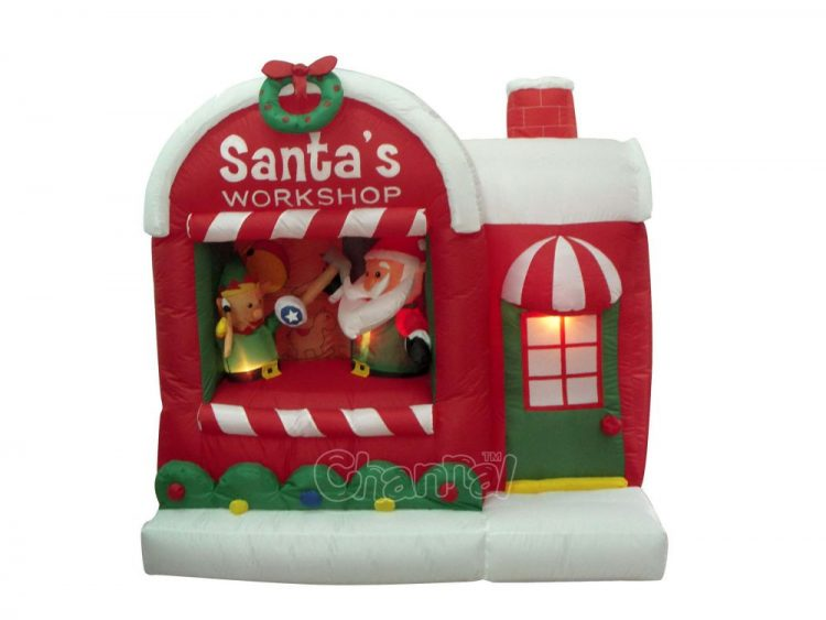 yard decoration Santa's workshop inflatable for wholesale
