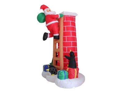 santa on ladder climbing chimney inflatable decoration