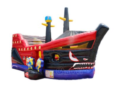 shark pirate ship inflatable slide
