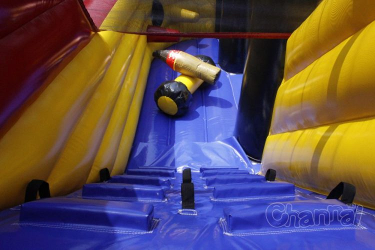 inflatable cannon and climb stairs