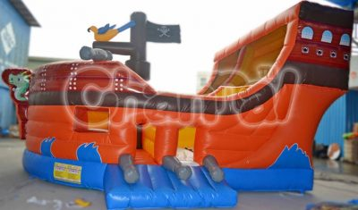 orange pirate ship inflatable slide