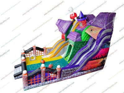 haunted house inflatable slide