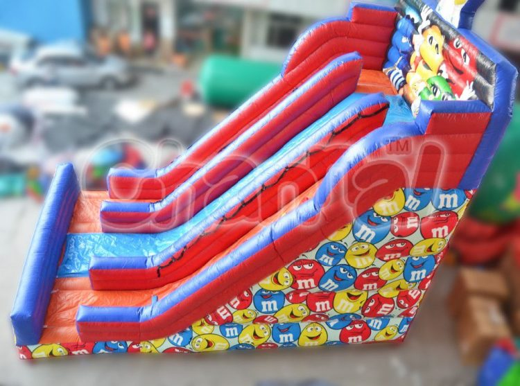 m&m chocolate candy inflatable slide