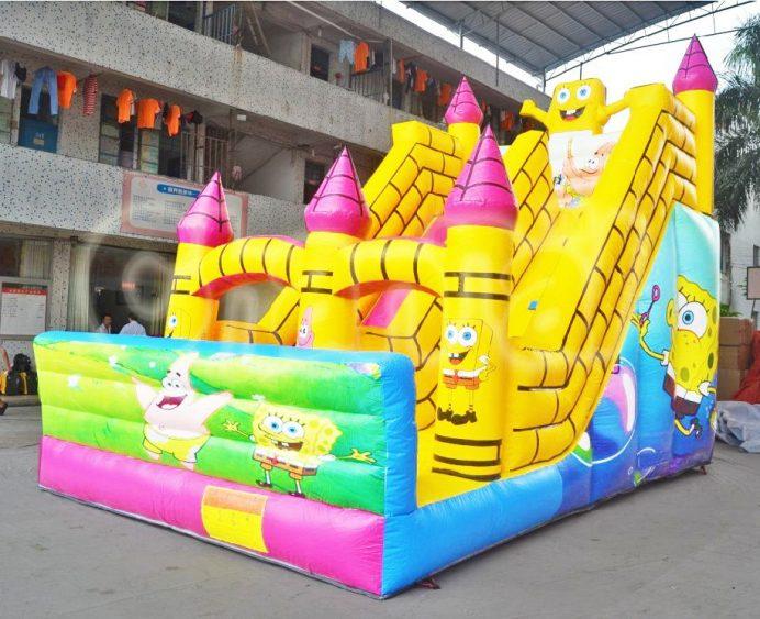 spongbob castle inflatable slide