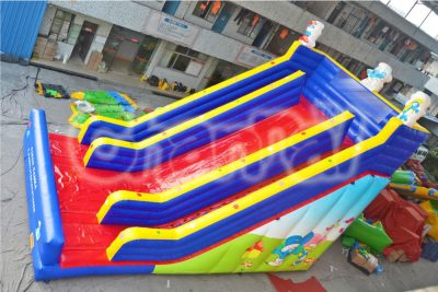 blue red smurfs theme inflatable slide
