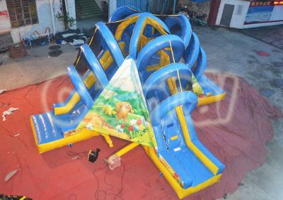 jungle bear inflatable slide