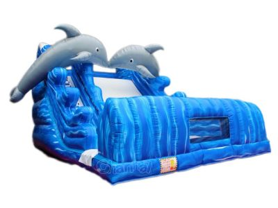 dolphin inflatable dry slide for kids