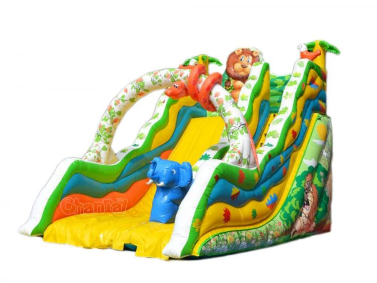 peaceful animals inflatable slide