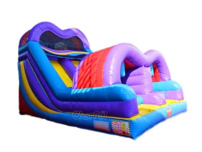 inflatable slide with obstacle entrance