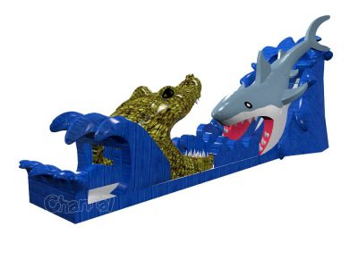 alligator shark inflatable slide