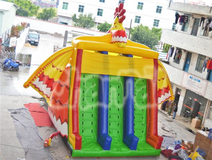 rooster inflatable slide with wings